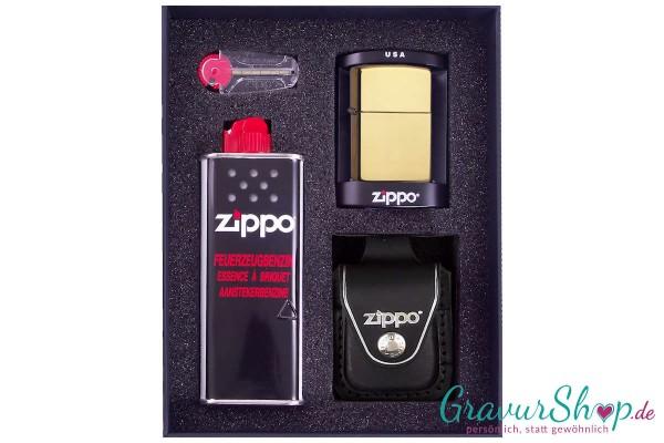 Zippo Set 2 - Messing poliert