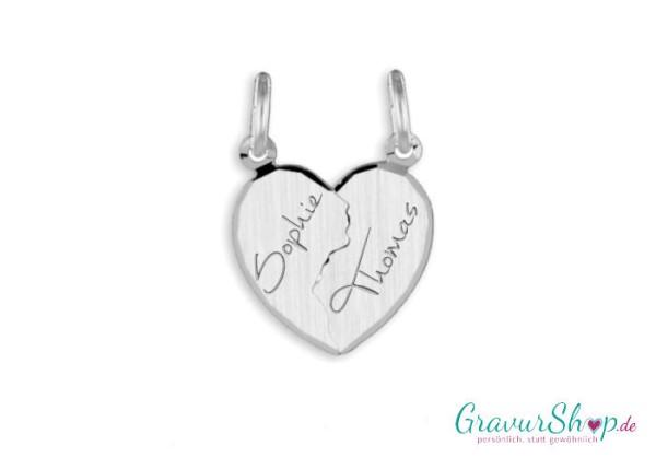 Silber Partneranhänger 01A mit Gravur