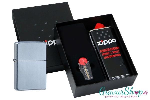 Zippo Geschenk Set mit Zippo Chrom satiniert