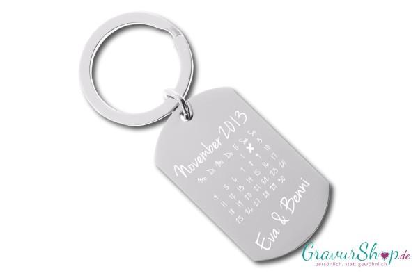Schlüsselanhänger Nr. 16 mit Gravur - Kalender B
