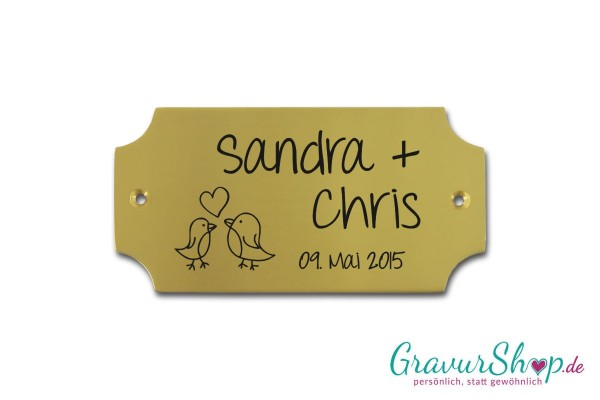 Hochzeitsschild mit Gravur 03 Messing