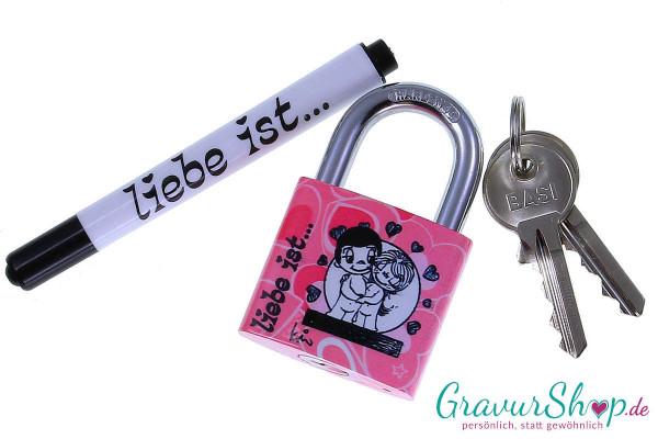 Liebesschloss Liebe ist..... rosa