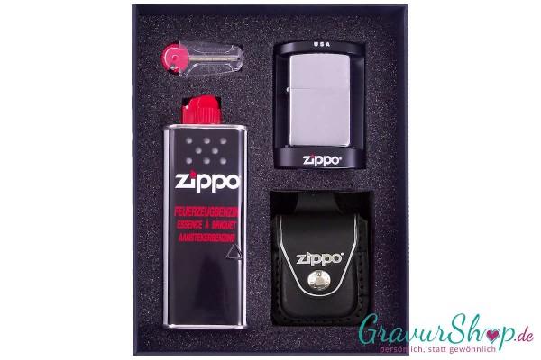 Zippo Set 2 - Chrom gebürstet