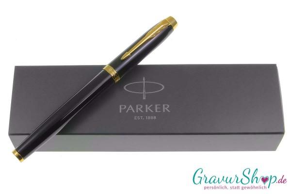 Parker-IM-Füllhalter schwarz-gold mit Gravur