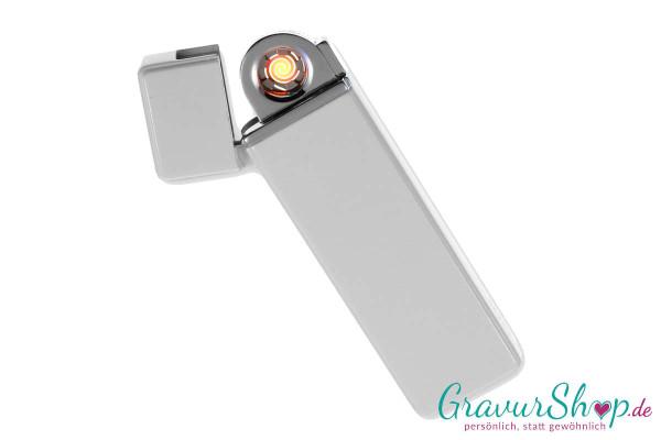 USB Glühspirale Feuerzeug weiss mit Gravur