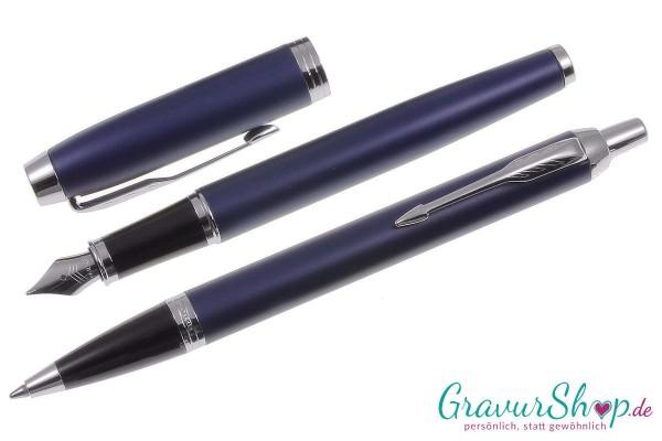 Parker-IM-Kugelschreibe-Füller matte blue-mit Gravur