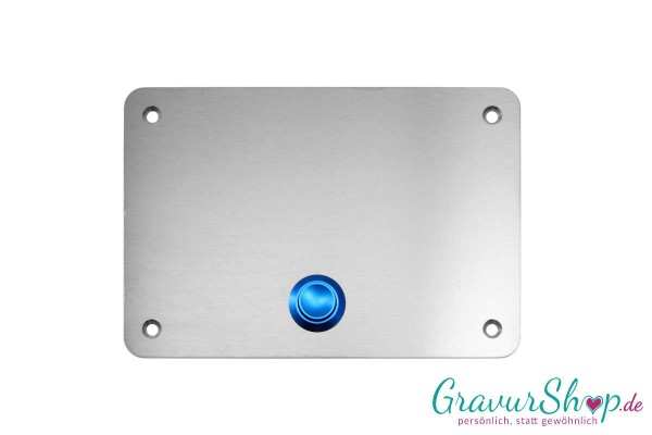 Edelstahl Klingelschild - 100 x 70 blau