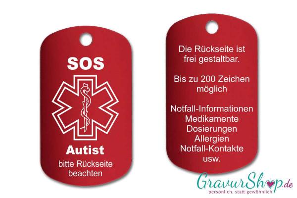 Autist - SOS Notfallkette, Notfallanhänger mit Gravur - rot