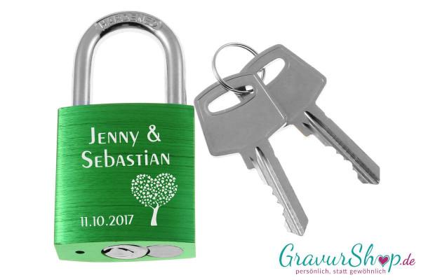 Liebesschloss Nr. 05 mit Gravur - grün