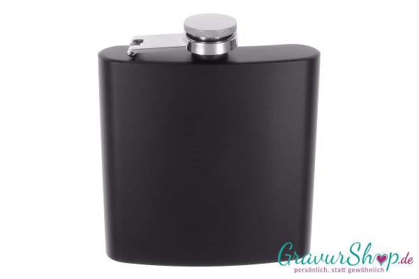 Flachmann 20 L schwarz matt mit Gravur