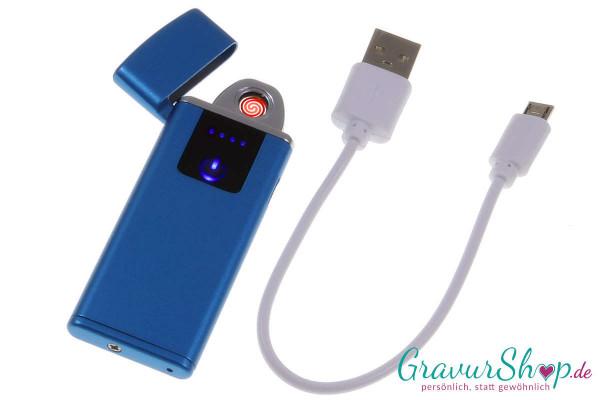 USB Glühspirale Feuerzeug 10 blau mit Gravur