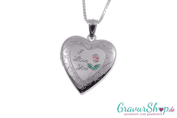 Silber Medaillon mit Gravur 02