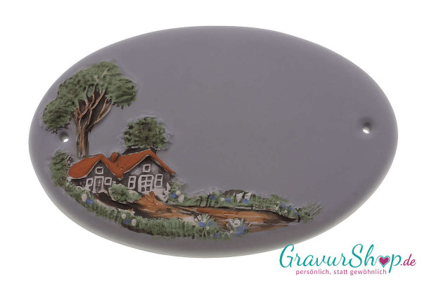 Keramikschild 11 grau mit Gravur